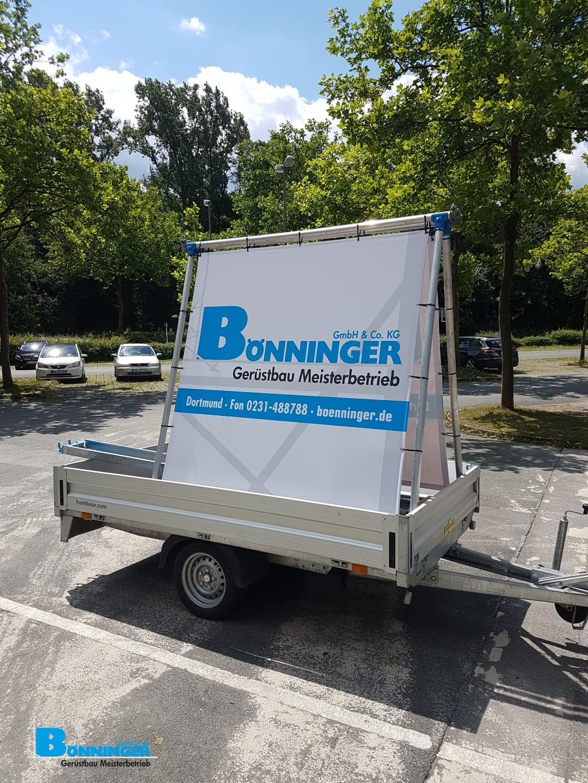 Anhänger Werbung Werbegersüt Humbauer Bönninger Dortmund Gerüstbau
