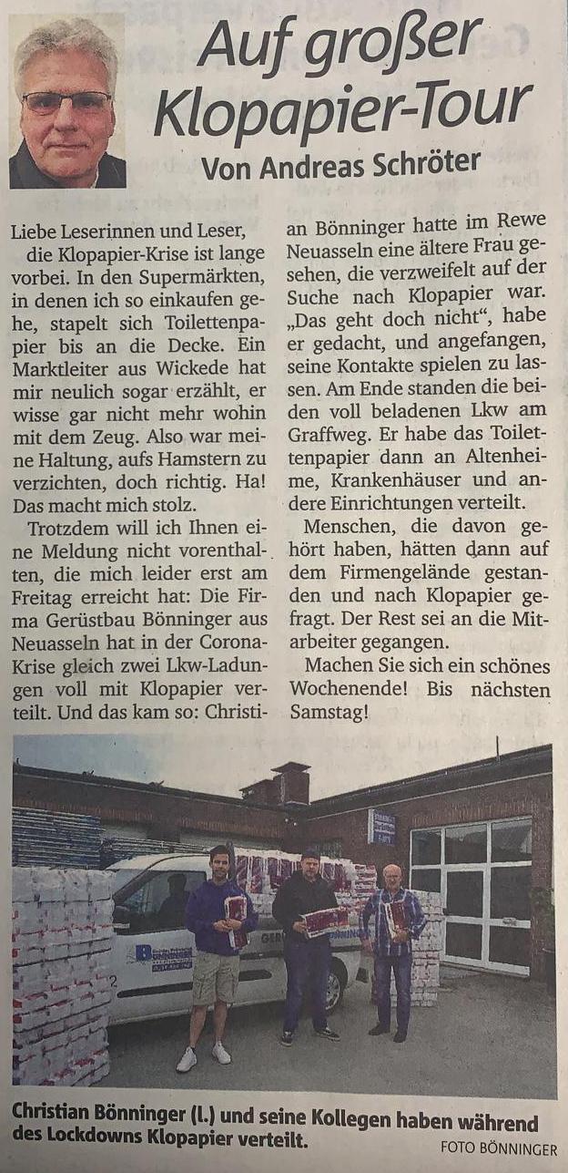 Gerüstbau Bönninger Dortmund - Presseartikel