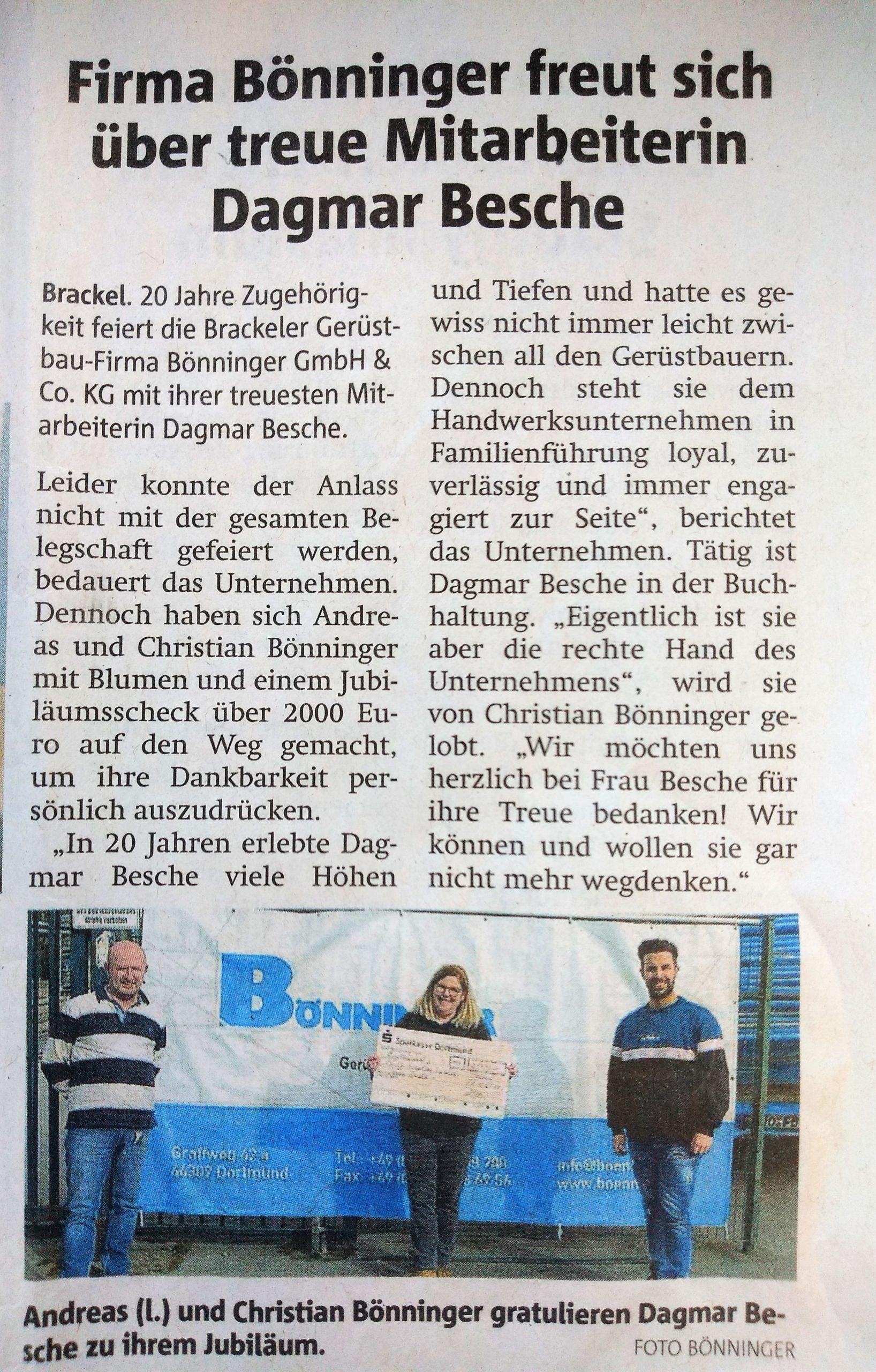 Gerüstbau Bönninger – Dagmar Besche Dortmund Mitarbeiterin