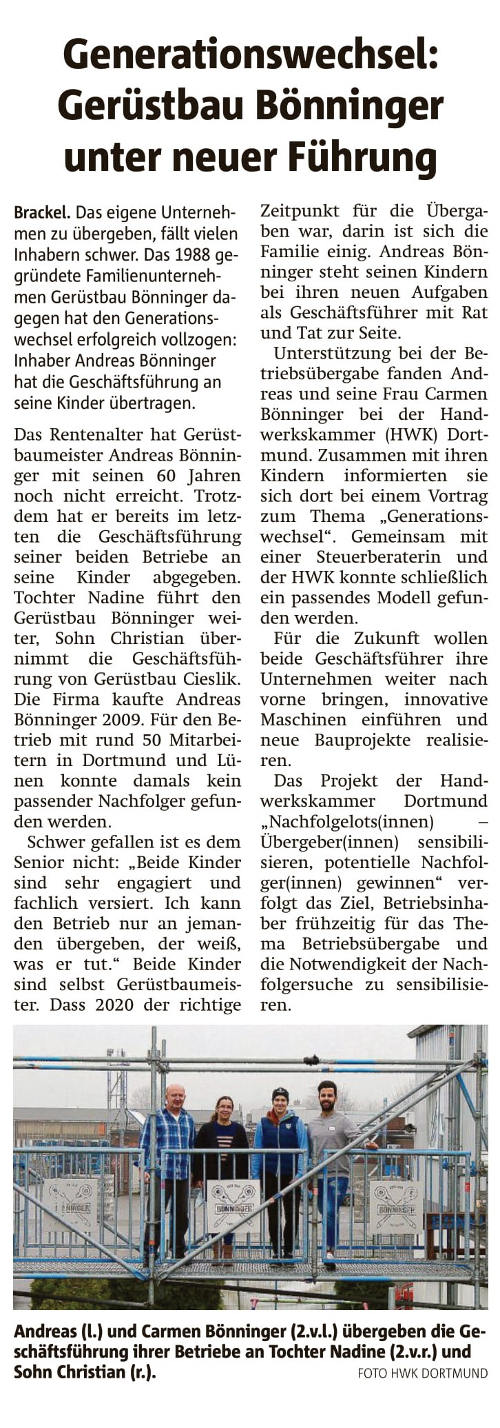 Gerüstbau Bönninger – Dortmund Generationswechsel