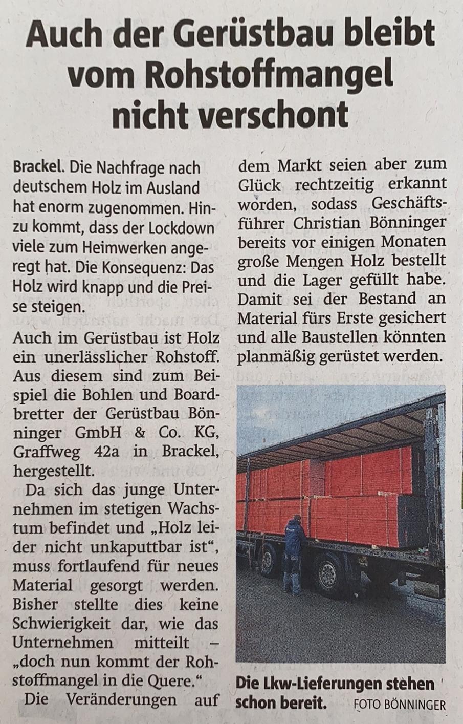 Gerüstbau Bönninger – Holzlieferung Dortmund Rohstoffmangel